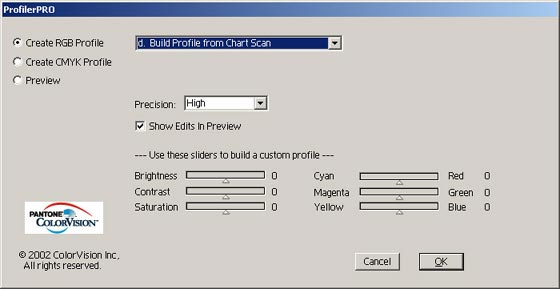 Building a profile from chart scan