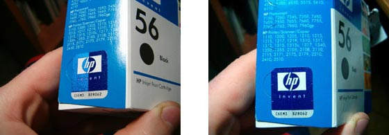 Genuine label viewed at different angles
