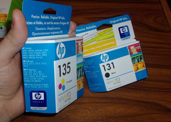 Genuine labels located on different part of cartridge box