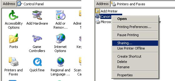 Printers and Faxes in Control Panel, Printer right-click context menu