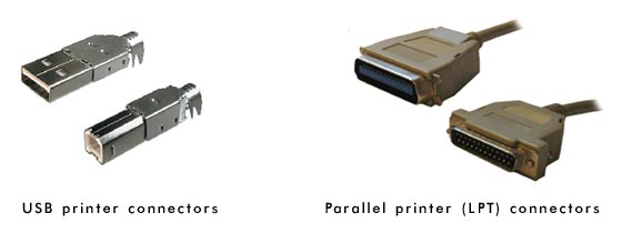 USB and parallel (LPT) printer connectors